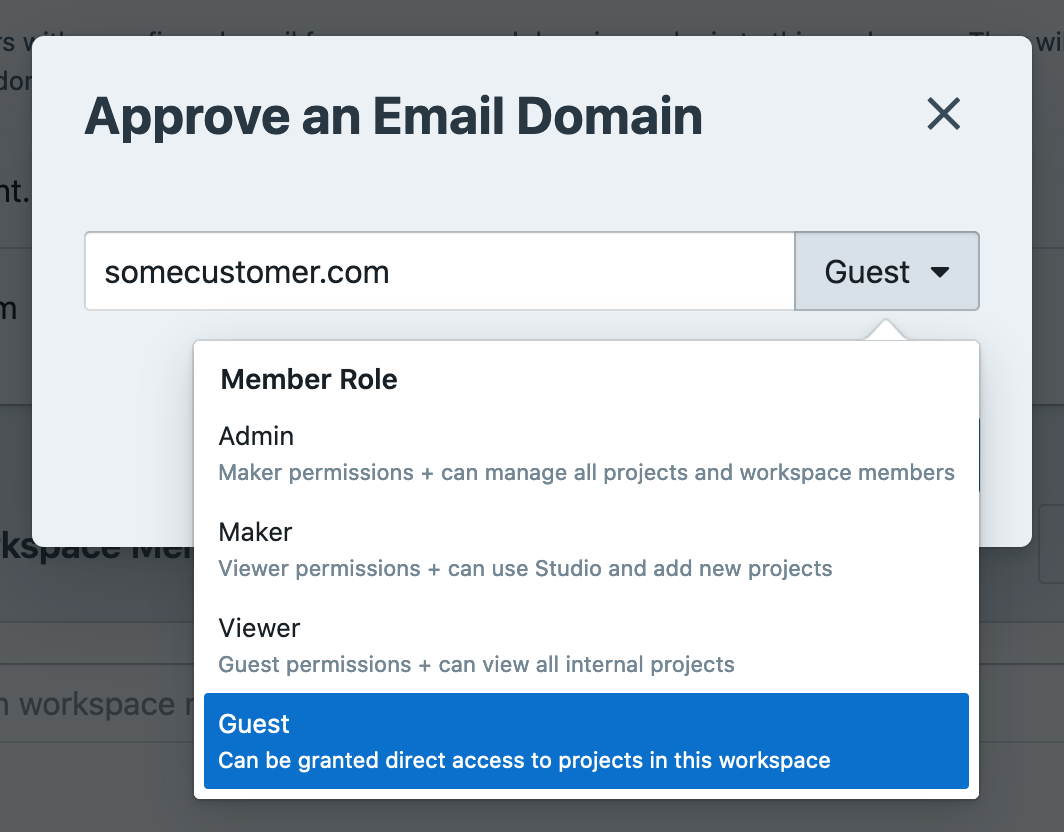 Give different email domains different default permissions when they try to sign up to your workspace