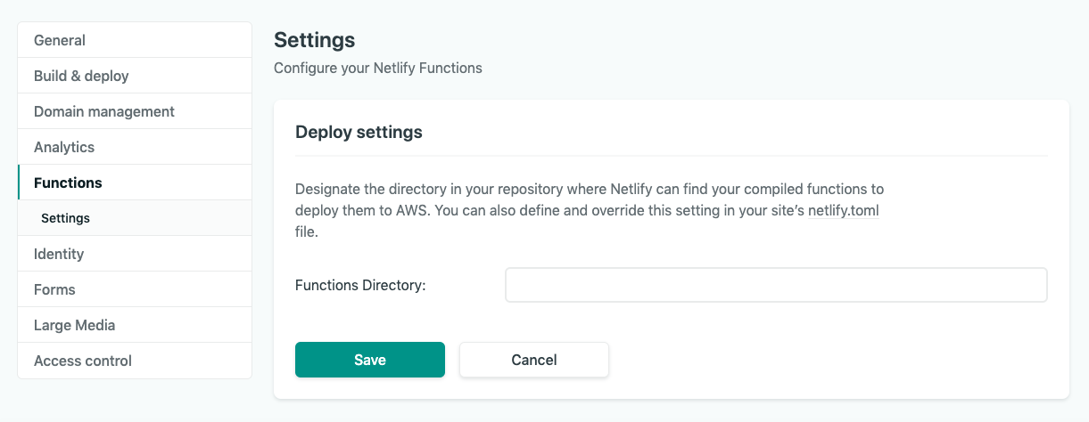 Where to find Functions in the right nav bar, then Settings