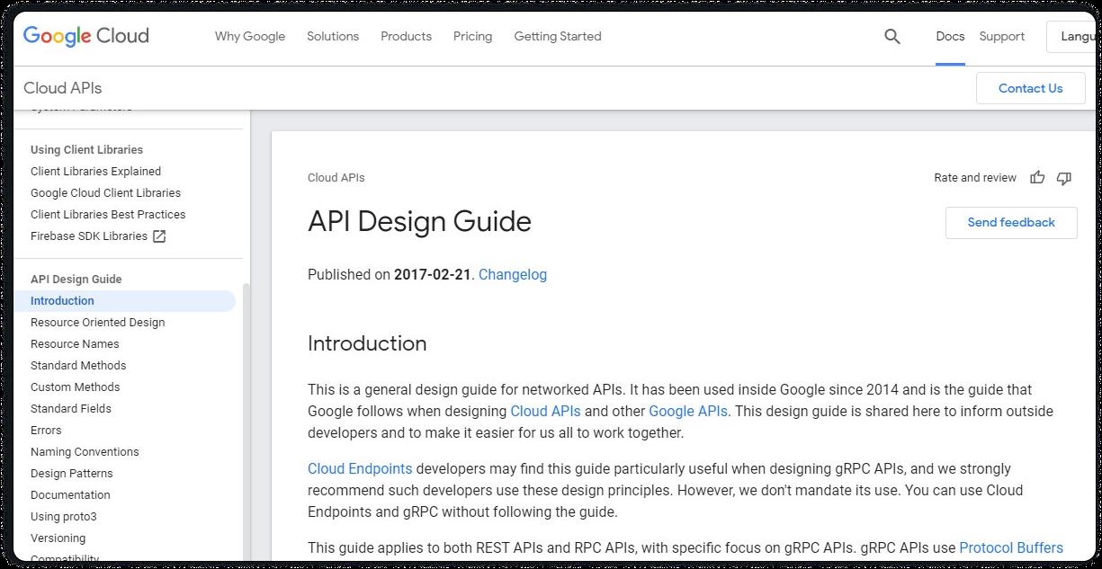 The API Design Guide at Google Cloud APIs