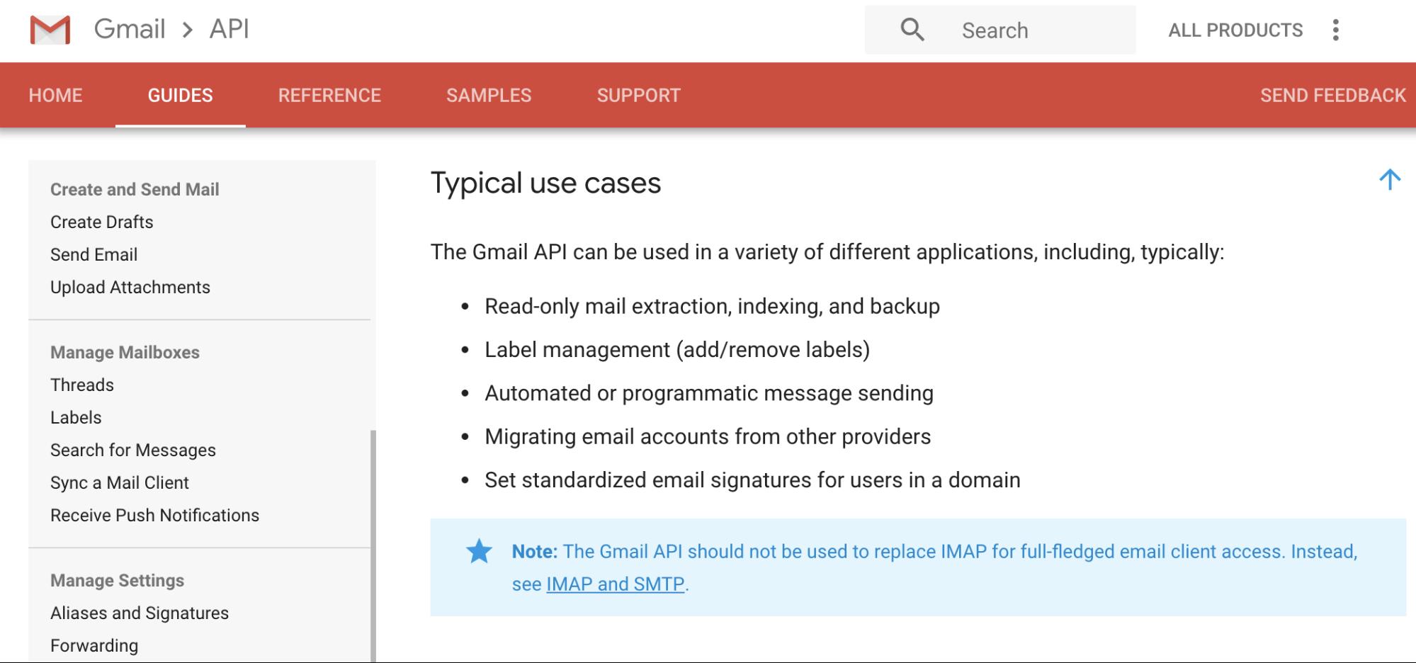 GMail API use cases