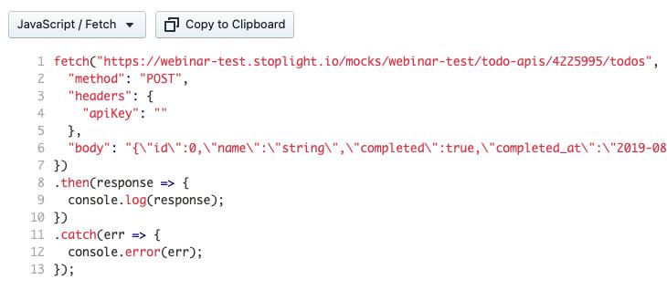 Mock Server URL with Code Samples