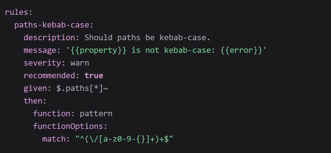 """rules:   paths-kebab-case:     description: Should paths be kebab-case.     message: ' is not kebab-case: '     severity: warn     recommended: true     given: $.paths[*]~     then:       function: pattern       functionOptions:         match: """"^(/[a-z0-9-{}]+)+$"""""""
